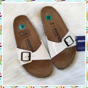 Birkenstock Madrid White Patent Sandals - NWT 39 8
